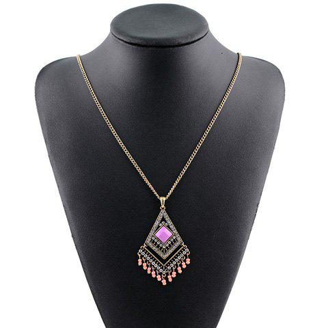 Vintage Rhinestoned Geometric Beads Pendant Necklace For Women