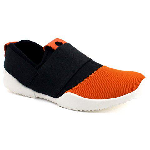 Concise Elastic Band and Color Block Design Casual Shoes For Men - BLACK/ORANGE 43