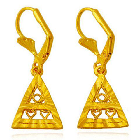 Pair of Noble Hollow Out Solid Color Triangle Earrings For Women