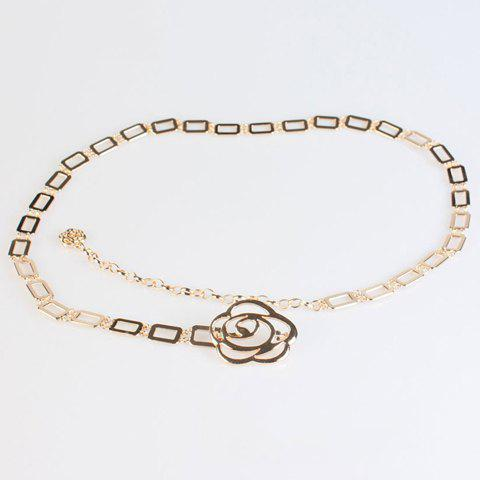 Chic Hollow Out Flower and Rectangle Design Women's Alloy Waist Chain - GOLDEN