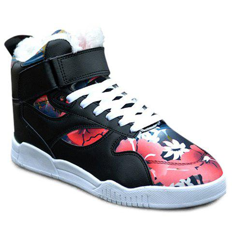 Stylish  and Floral Print Design Casual Shoes For Men - BLACK/PINK 44