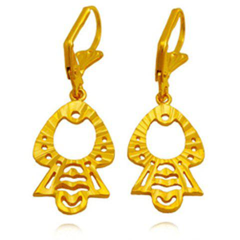 Pair of Hollow Out Figure Shape Earrings - GOLDEN