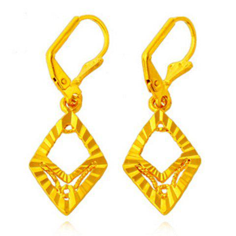 Pair of Noble Hollow Out Rhombus Shape Earrings For Women - GOLDEN
