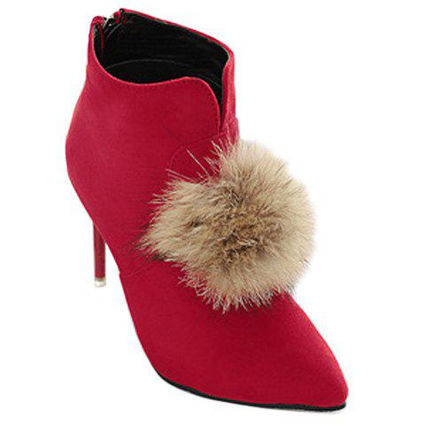 Elegant Faux Fur and Pointed Toe Design Ankle Boots For Women - RED 37