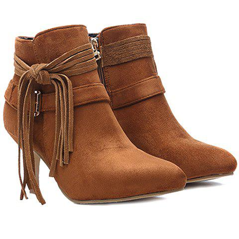 Trendy Buckle and Stiletto Heel Design Short Boots For Women - BROWN 35