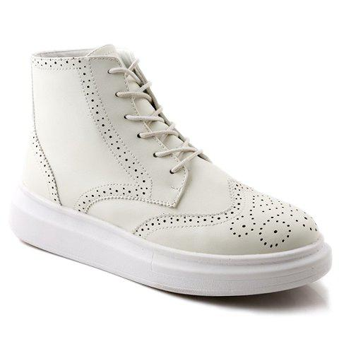 Stylish Engraving and PU Leather Design Casual Shoes For Men - WHITE 42