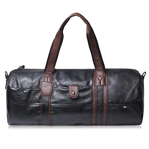 Concise PU Leather and Rivets Design Messenger Bag For Men - BLACK