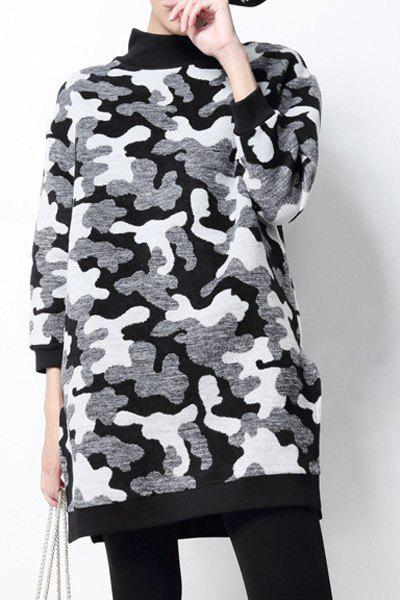 Furcal Round Neck Camouflage Long Sleeve Dress For Women - ACU CAMOUFLAGE ONE SIZE(FIT SIZE XS TO M)