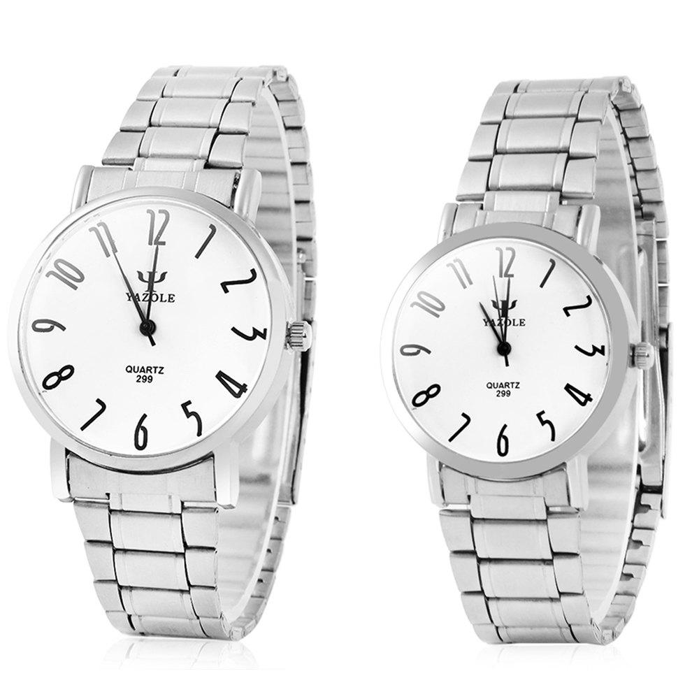 Yazole 299 Analog Quartz Watch with Steel Band for Couple - WHITE