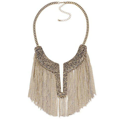 Link Chain Tassel Pendant Necklace - BRONZE COLORED