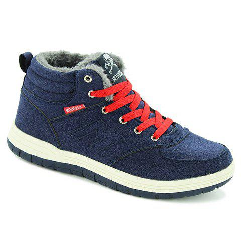 Simplicity Solid Colour and Suede Design Casual Shoes For Men - DEEP BLUE 41