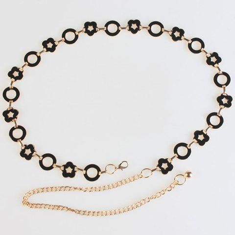 Chic Hollow Flower and Round Shape Embellished Women's Metal Waist Chain - BLACK