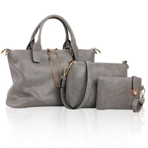 Simple Chains and Solid Color Design Tote Bag For Women - GRAY
