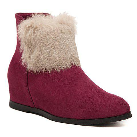 Sweet Increased Internal and Faux Fur Design Women's Short Boots - WINE RED 38