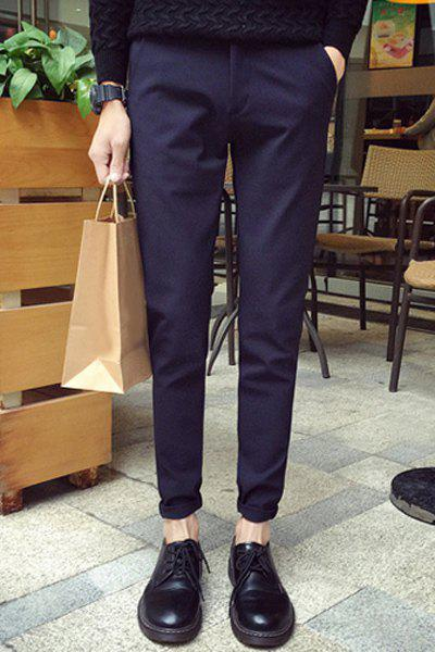 Slimming Simple Style Solid Color Zipper Fly Narrow Feet Casual Pants For Men - DEEP BLUE 33