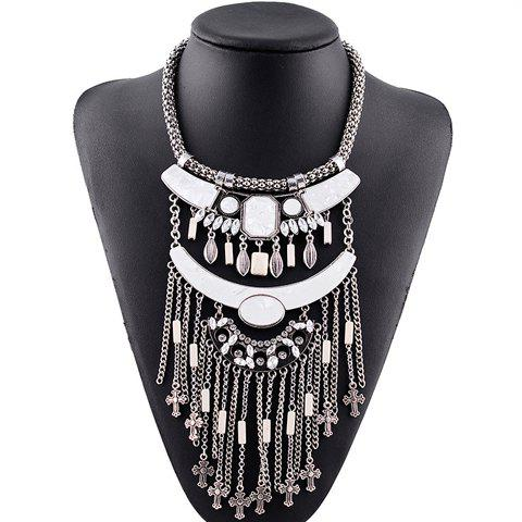 Vintage Rhinestone Faux Crystal  Primitive Tribes Face Shape Cross Necklace For Women