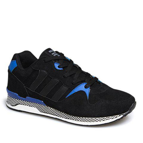 Fashionable Lacing and Suede Design Athletic Shoes For Men - BLUE 43