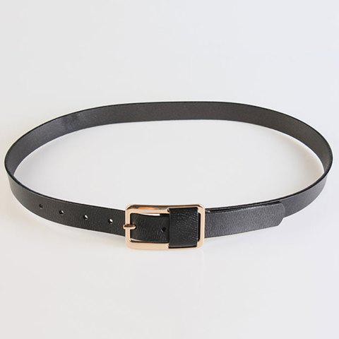 Chic Solid Color Pin Buckle Faux Leather Women's Belt - BLACK