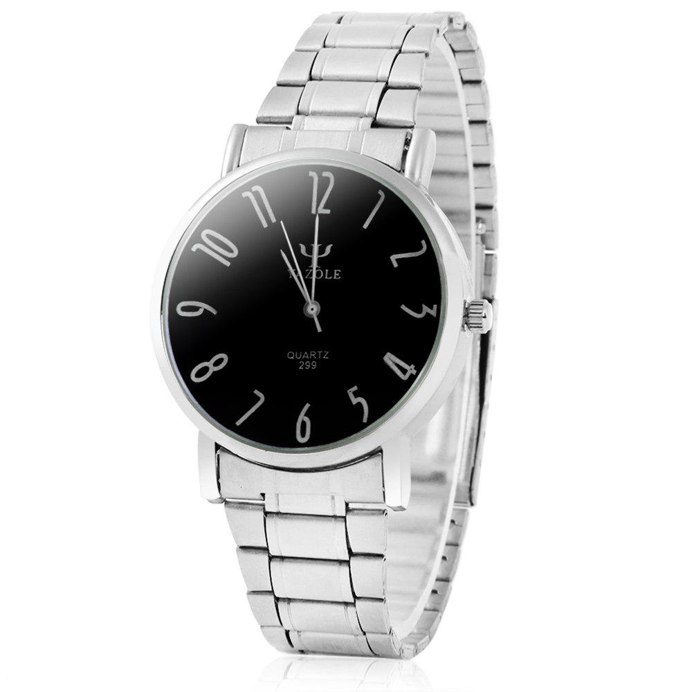 Yazole 299 Analog Quartz Watch with Steel Band for Men - BLACK