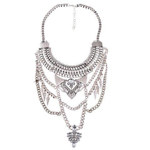 Trendy Rhinestone Faux Crystal Hollow Out Link Chain Pendant Necklace For Women - SILVER