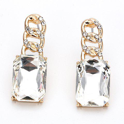 Pair of Graceful Faux Crystal Rhinestone Rectangle Earrings For Women - WHITE