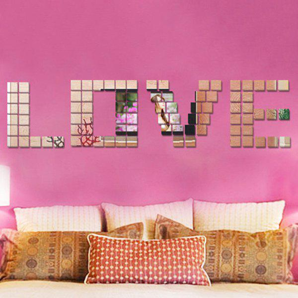 100PCS 2CM Square DIY 3D Mirror Wall Sticker - SILVER