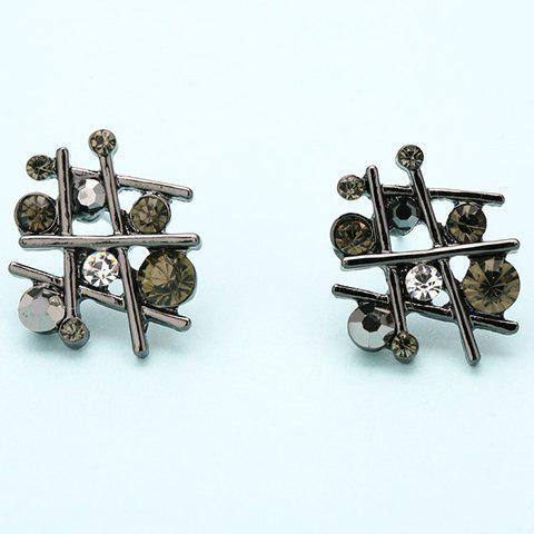 Pair of Vintage Rhinestone Irregular Hollow Out Earrings For Women -  SILVER GRAY