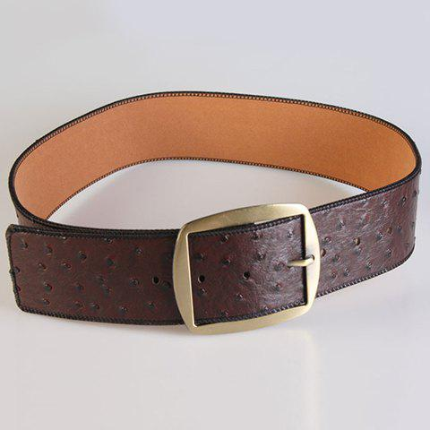 Chic Pin Buckle Simple Women's Wide Belt - CHOCOLATE