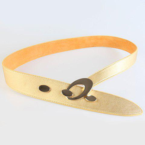 Chic Ellipse Shape Embellished Alloy Buckle Women's Wide Belt - GOLDEN
