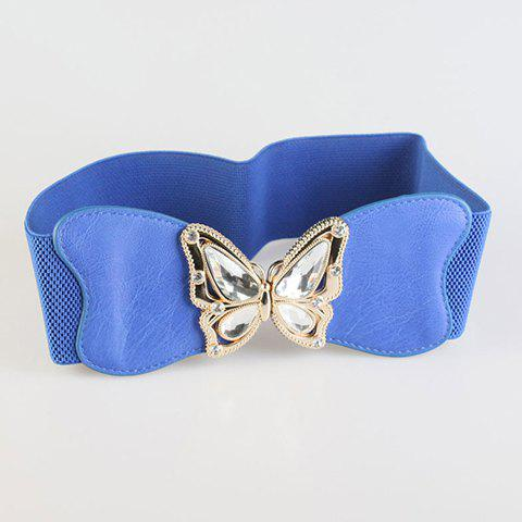 Chic White Faux Crystal Butterfly Embellished Women's Elastic Waistband - BLUE