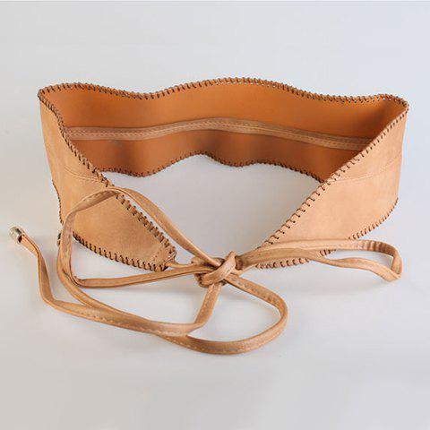 Chic Lace-Up Embellished Solid Color Women's PU Waistband - CAMEL