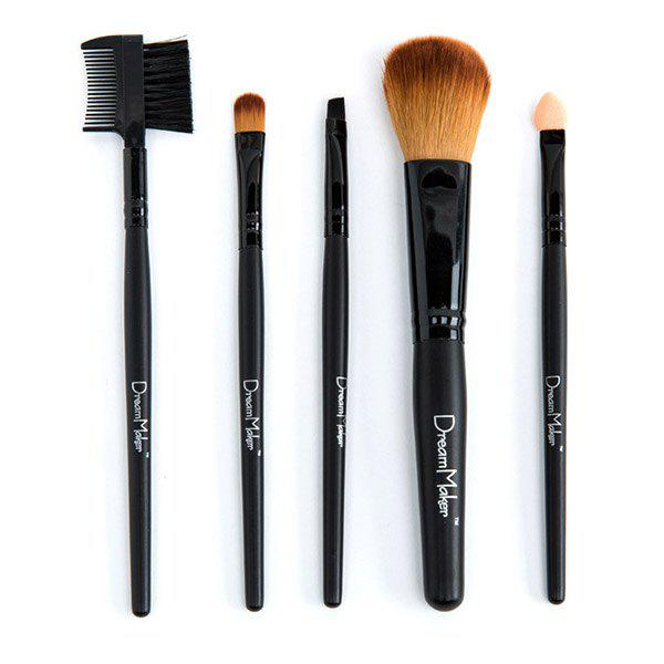 Portable 5 Pcs Fiber Makeup Brushes Set - BLACK
