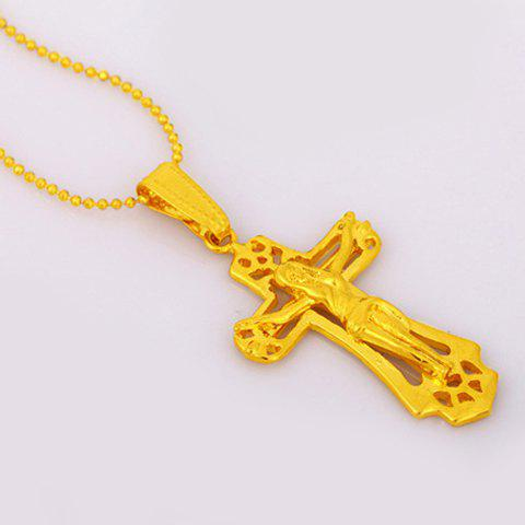 Noble Crucifix Shape Pendant For Women - GOLDEN