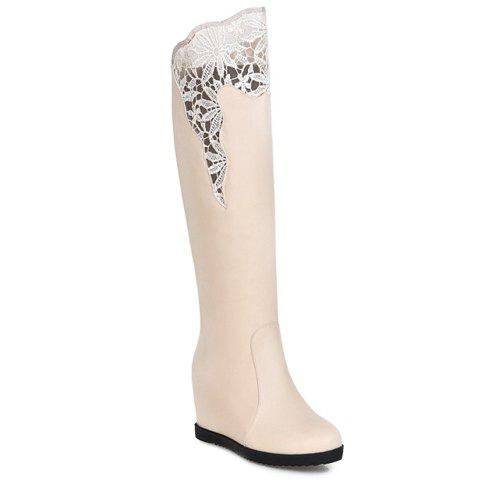 Ladylike PU Leather and Lace Design Women's Knee-High Boots - APRICOT 39