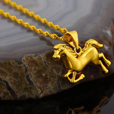 Noble Solid Color Horse Shape Pendant For Women - GOLDEN