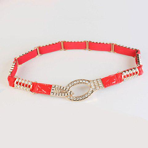 Chic Rhinestone Lace Hollow Out Alloy Embellished Women's Elastic Waistband - RED