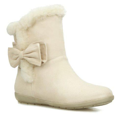 Fresh Style Bowknot and Flat Heel Design Short Boots For Women - OFF WHITE 38