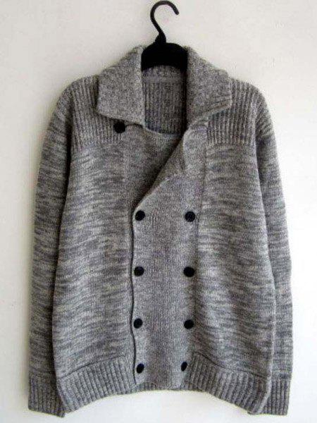 Turn-Down Collar Mix Color Long Sleeve Men's Double Breasted Cardigan - GRAY XL