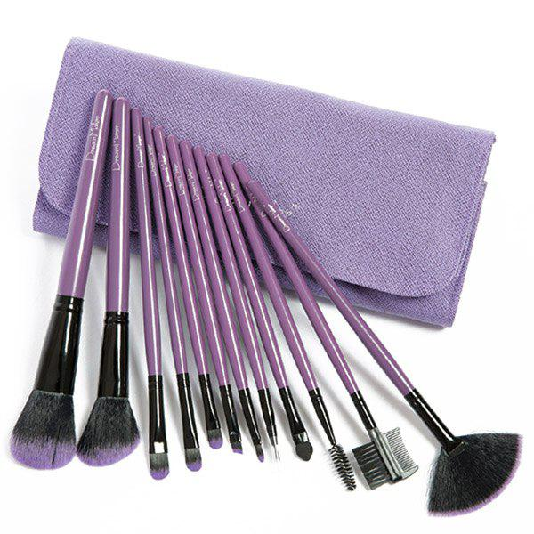 12 Pcs Fiber Makeup Brushes Set with PU Brush Bag - PURPLE