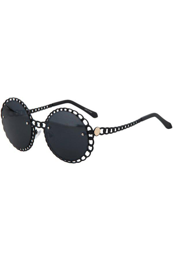 Chic Hollow Out Brim Round Sunglasses For Women - BLACK