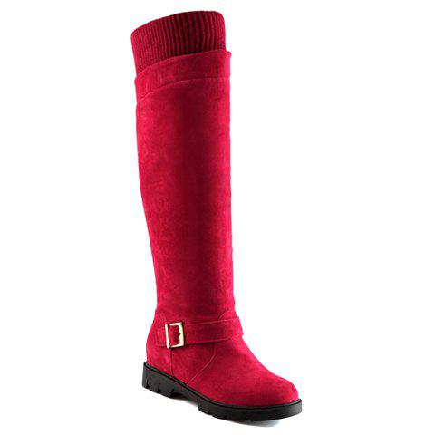 Fashion Pin Buckle and Suede Design Knee-High Boots For Women - RED 34