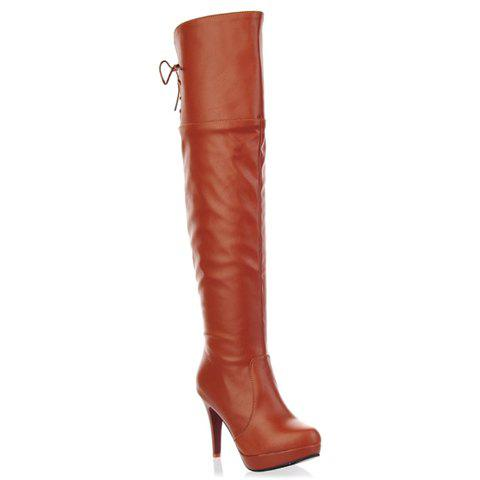 Stylish Platform and Stiletto Heel Design Thigh Boots For Women - BROWN 34