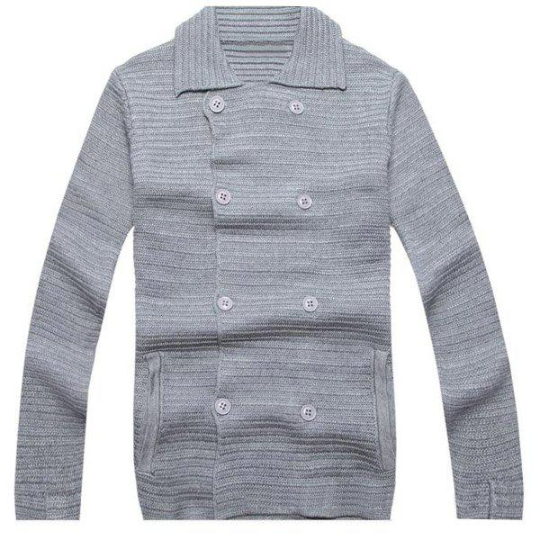 Turn-Down Collar Solid Color Long Sleeve Men's Double Breasted Cardigan - GRAY 2XL
