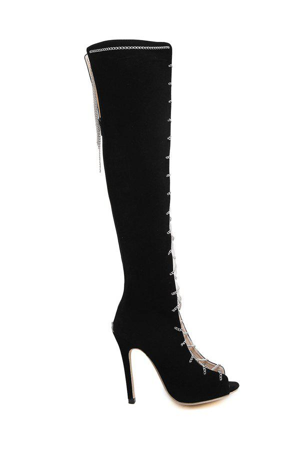 Sexy Chains and Peep Toe Design Women's High Heel Boots - BLACK 36