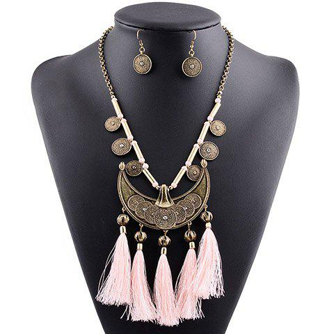 A Suit of Chic Tassel Moon Shape Coin Necklace and Earrings For Women - PINK