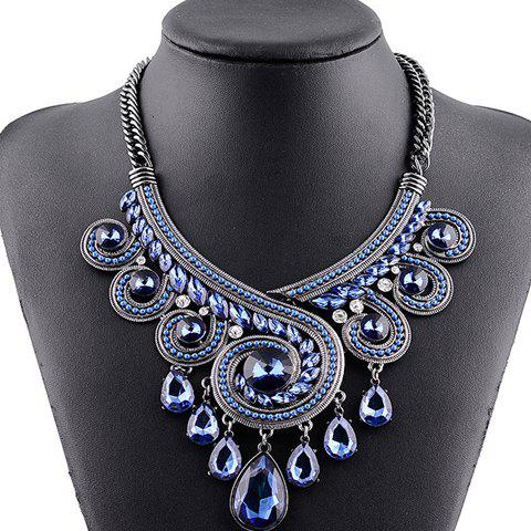 Retro Rhinestone Hollow Out Water Drop Pendant Necklace - BLUE