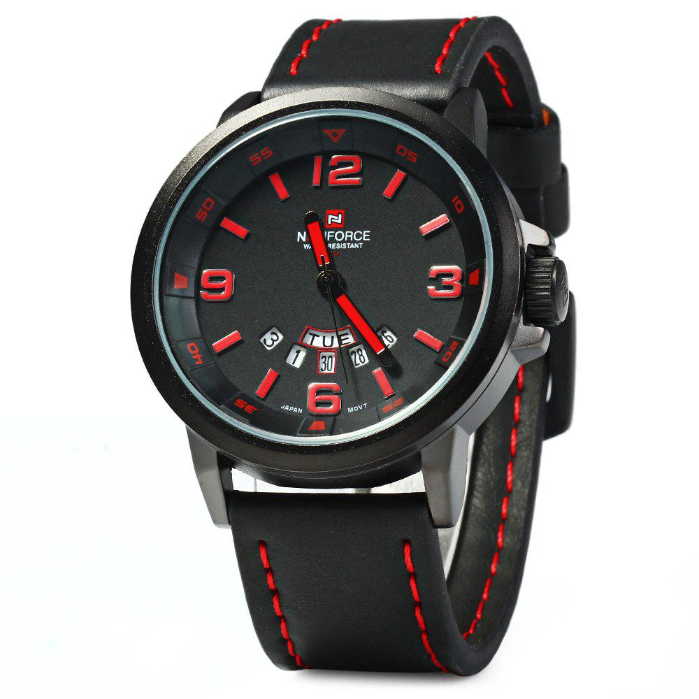 NAVIFORCE NF9028 Men Quartz Watch Analog Wristwatch Date Watches PU Strap