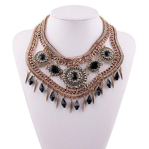 Elegant Exaggerated Hollow Out Round Cone Pendant Necklace For Women - BLACK