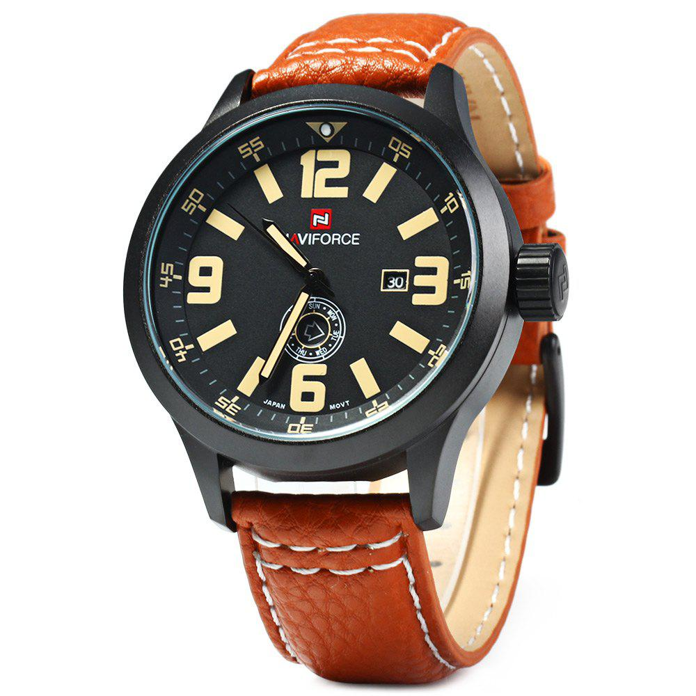 NAVIFORCE NF9057 Men Quartz Watch Analog Wristwatch Date Watches PU Strap компонентная автоакустика kicx alq 6 2
