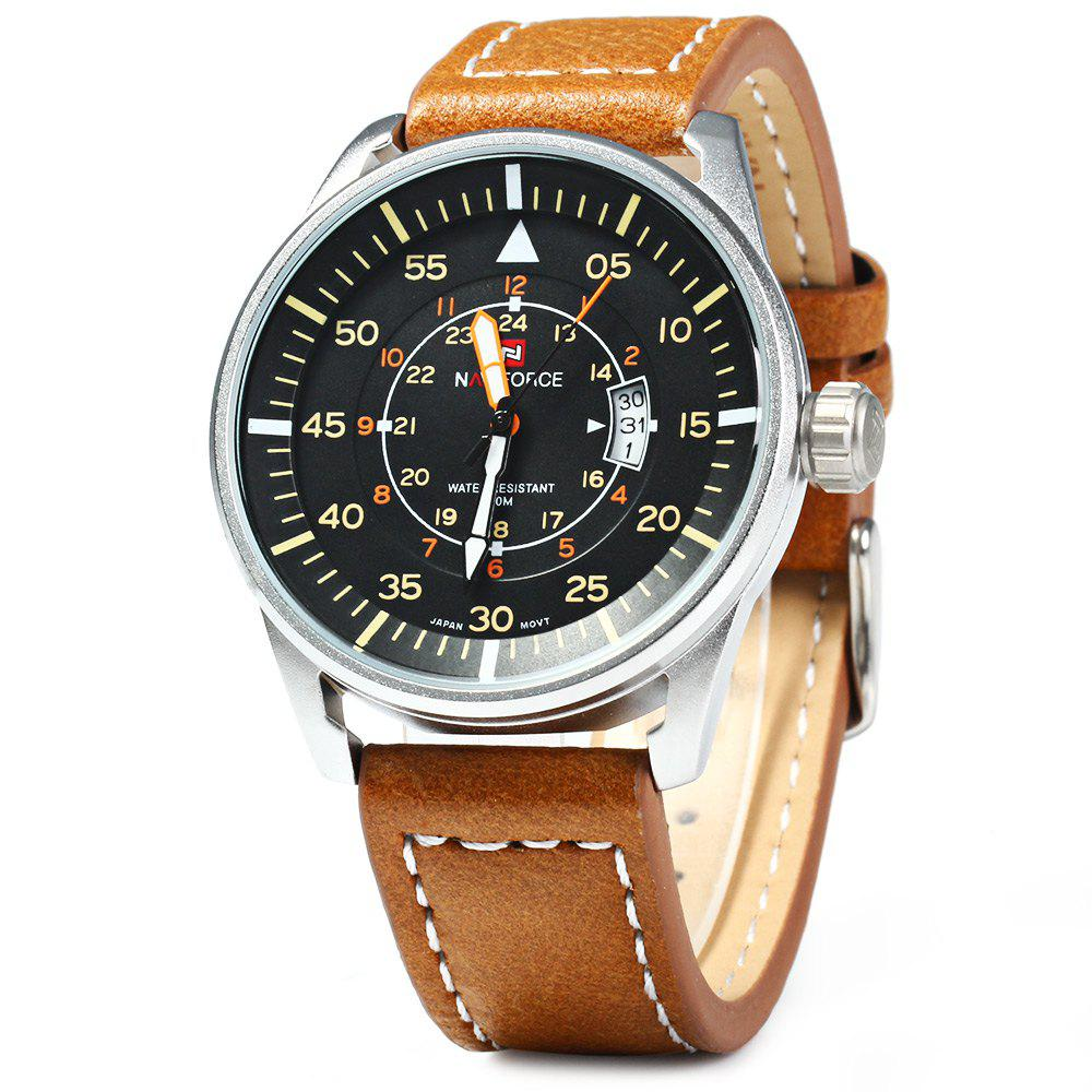 NAVIFORCE NF9044 Men Quartz Watch Analog Wristwatch Date Watches PU Strap - BROWN